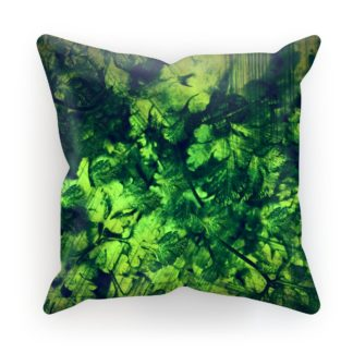 Høst pyntepute i grønn farge har organiske former og farge inspirert av skog og fjell.