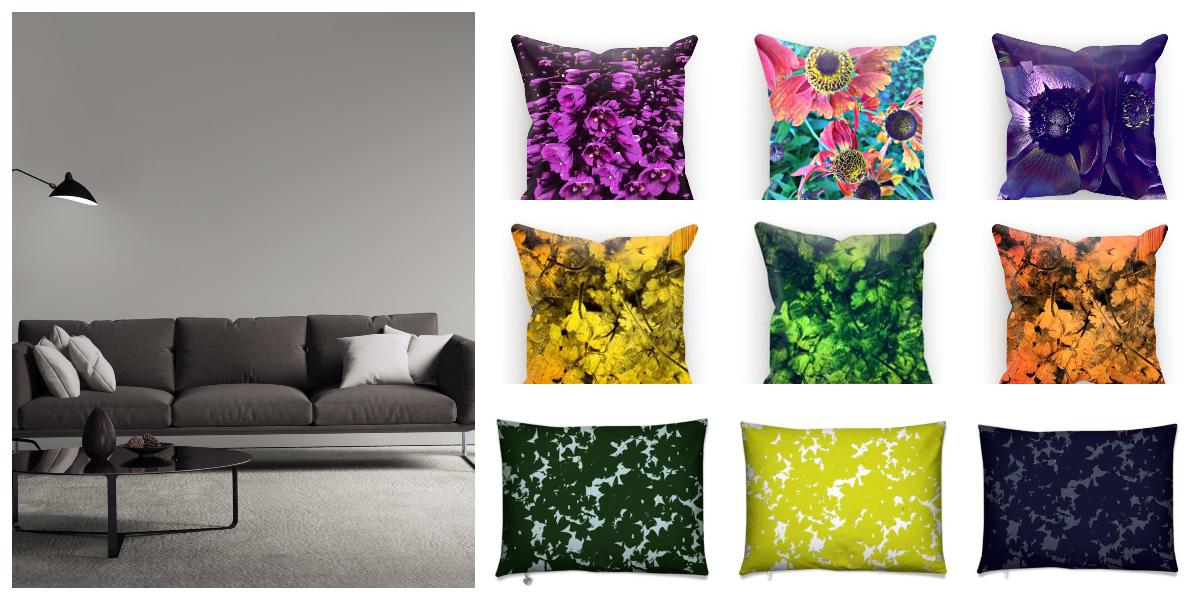 Interiør i gråfarger med fargerike pynteputer fra Sterner Design.